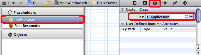 Change class of File's Owner to UIApplication